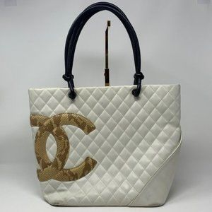 Authentic CHANEL cambon quilted Lamb snakeskin